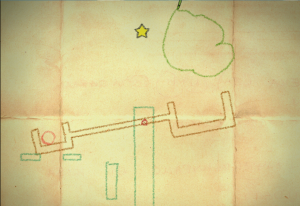 Crayon Physics Deluxe play. The player has just drawn a boulder which will drop into the lever, throwing the ball toward the star.
