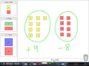 Algebra Tiles screen