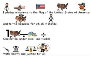 The Pledge of Alliegance created with Boardmaker symbols