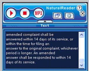 Natural Reader is a free, downloadable text reader with a simple user toolbar