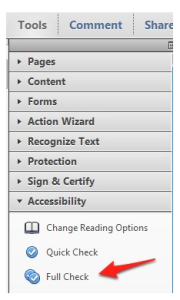 Turning on Adobe Acrobat's accessibility checker