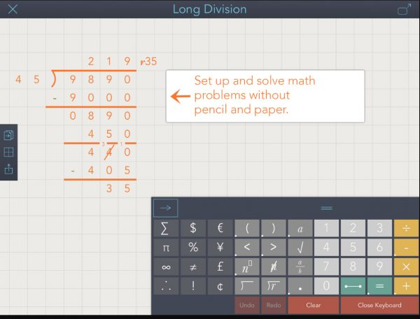 MathTech: Math aids for students with dyslexia and dysgraphia